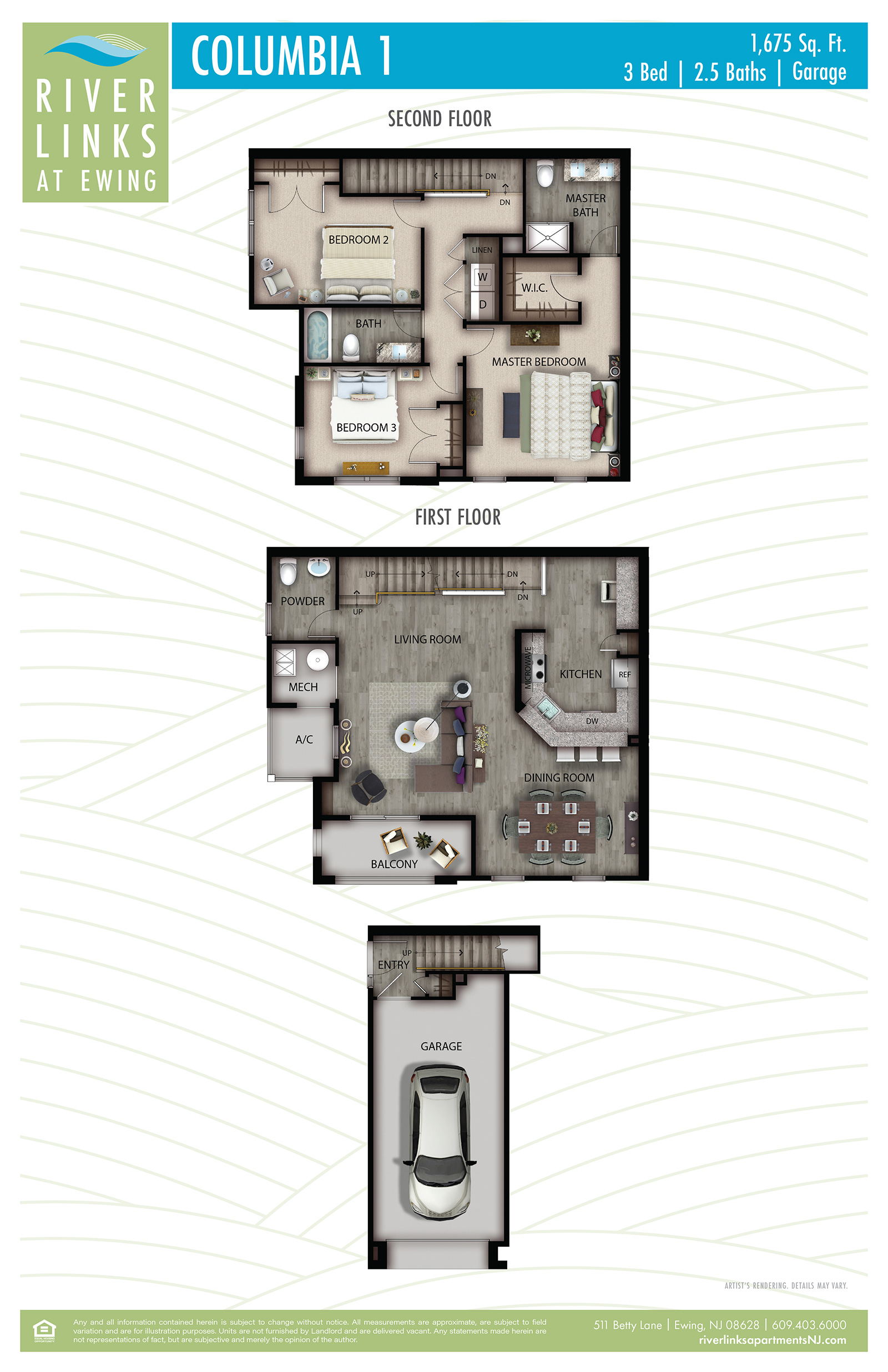 Columbia 1 - 3 Bedroom/2.5 Bath/Garage