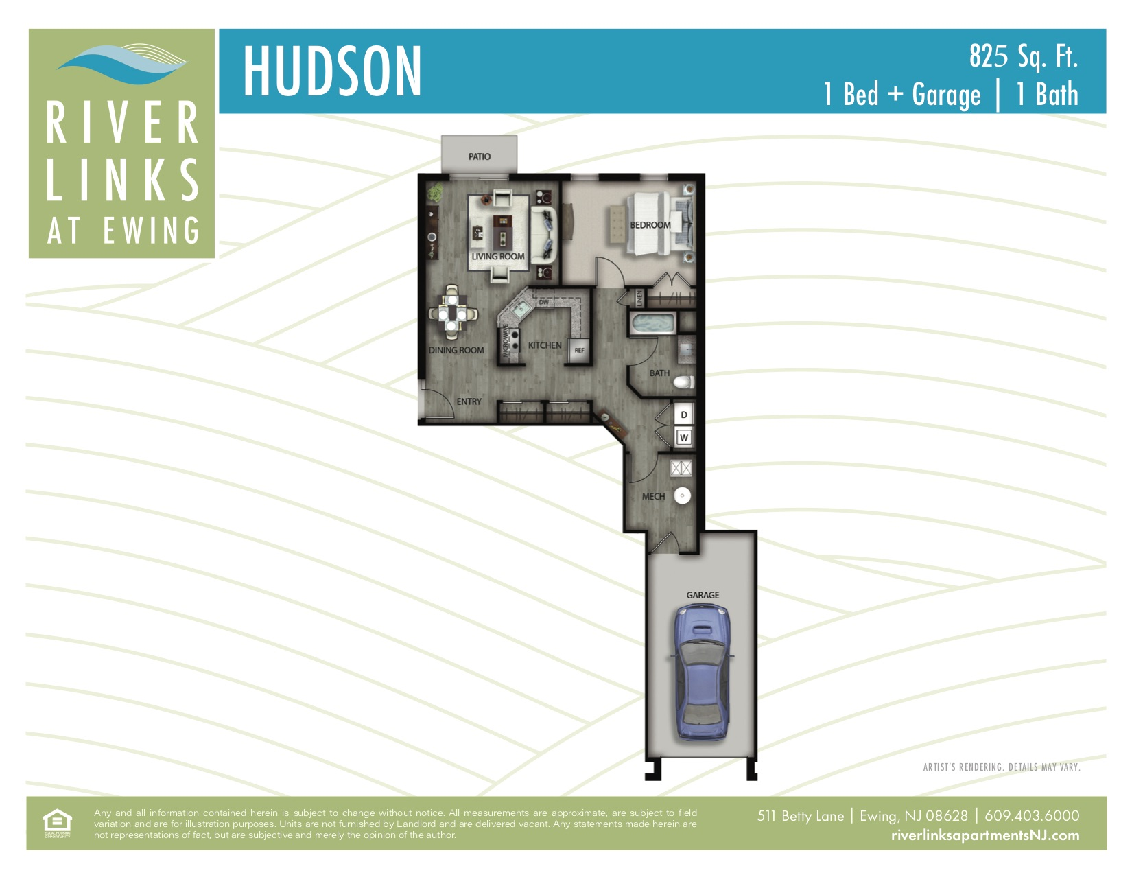 Hudson - 1 Bedroom/1 Bath + Garage