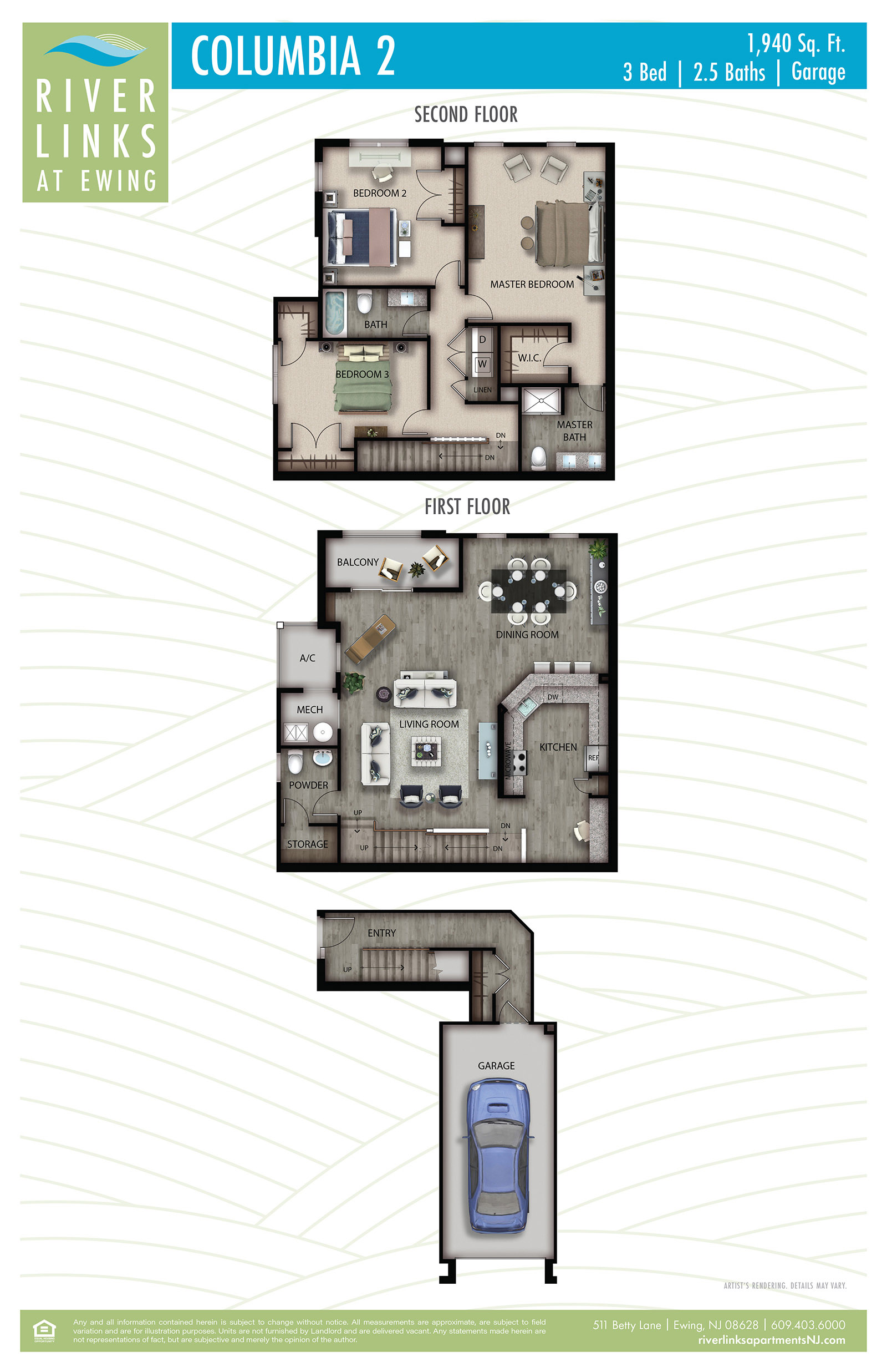 Columbia 2 - 3 Bedroom/2.5 Bath/Garage