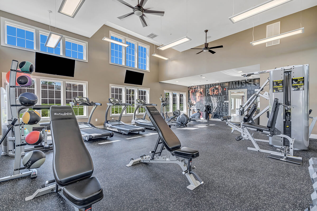 Gym equipment at the River Links clubhouse.