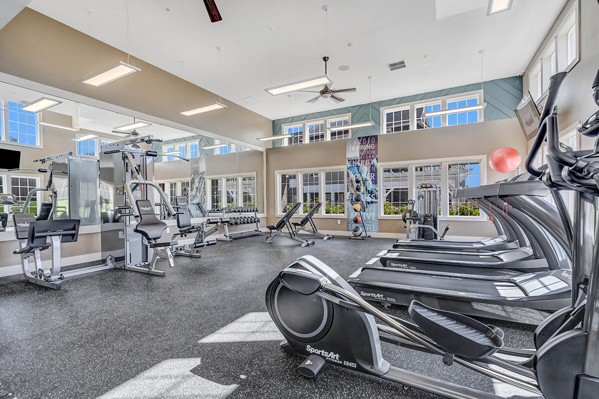 River Links apartments gym in the clubhouse.