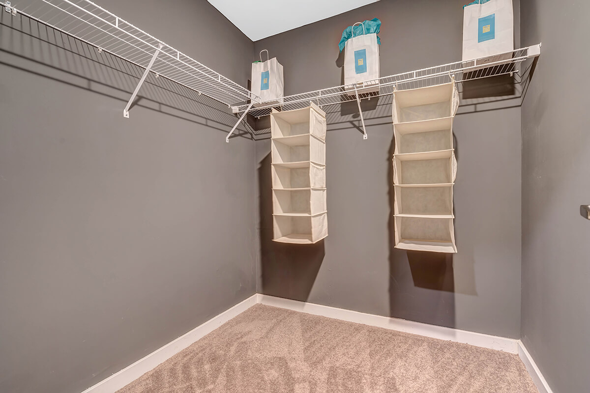 A large closet at the River Links apartments.