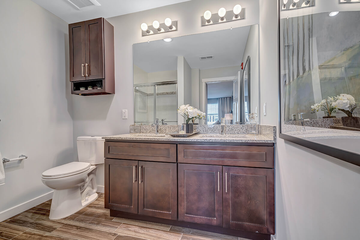 Restroom view with dual sinks at the River Links.