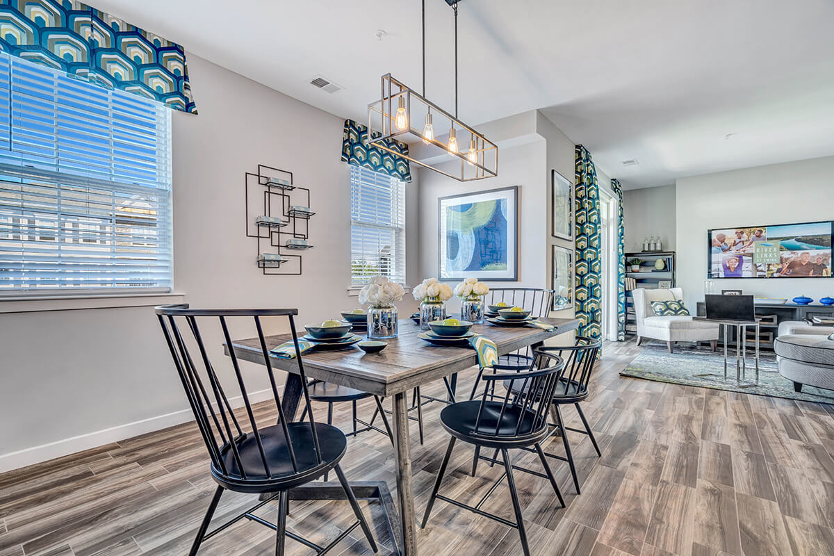 Dining room in a River Links apartment.